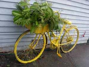 recycled guerilla garden bike planter