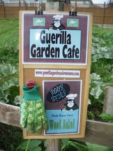 The Guerilla Garden Cafe Sign