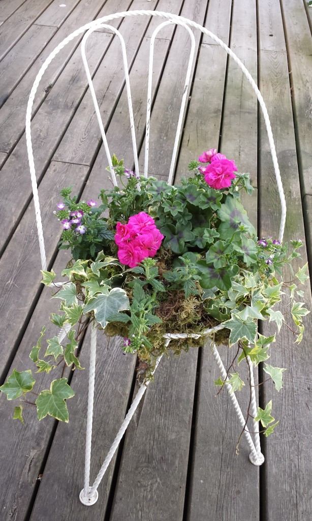 Wrought Iron Vintage Chair Planter
